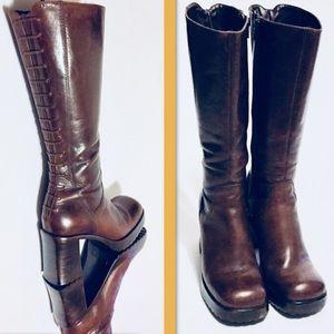 Vtg Steve Madden Corset Platform Boots Leather